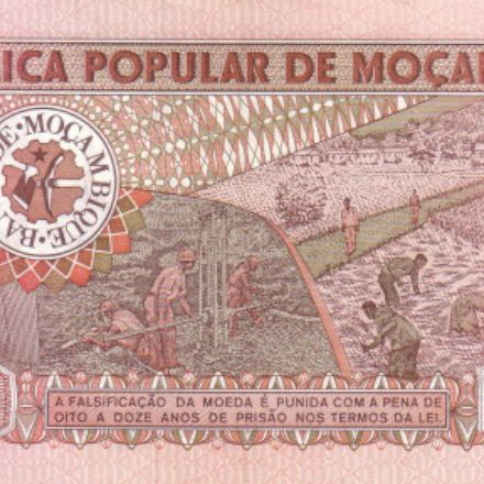 the banknote of Mozambique