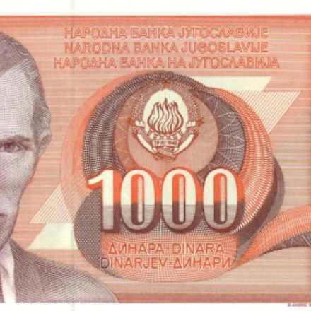 the banknote of Yugoslavia